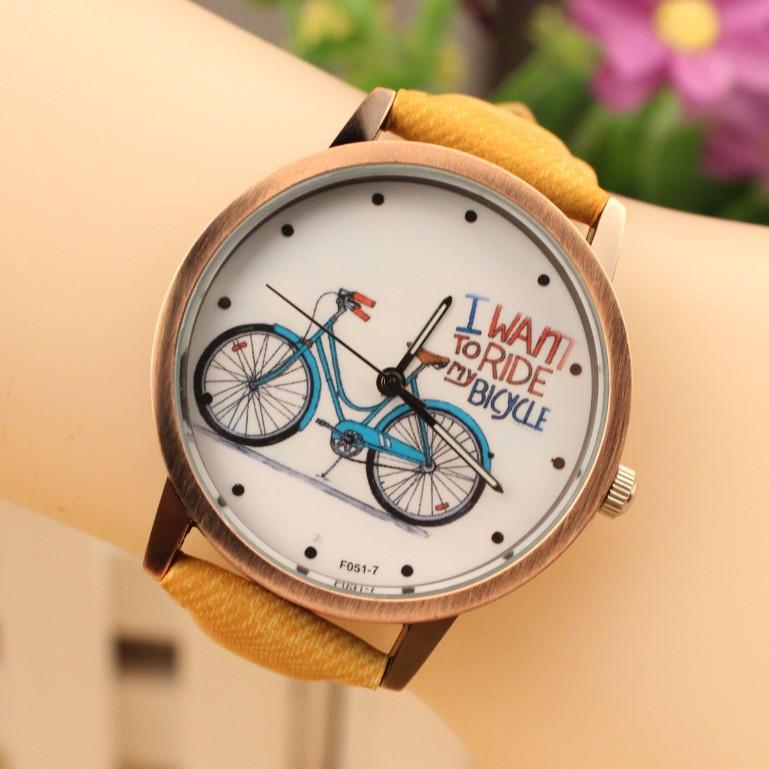 Женщины мода наручные часы 2015 новинка милый мультфильм велосипедов кожа платье часы женщин кварц свободного покроя